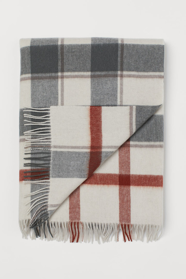 H&M - Checked Wool Throw - Beige