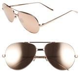 Linda Farrow 59mm 24 Karat Gold Trim Aviator Sunglasses