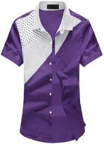 uxcell® Men Dots Prints Contrast Color Short Sleeves Button Down Casual Shirt
