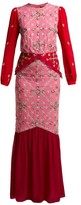 Saloni Isa Sequinned Silk-georgette Dress - Womens - Pink Multi