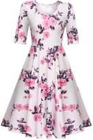 Meaneor Women's Causal Polka Dot Swing Dress 3/4 Sleeve A Line Prom Dress, /S
