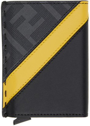 Fendi Black and Yellow Forever Slide Out Card Holder