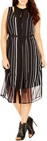 City Chic Plus Size Women's 'Office Romance' Sheer Overlay Dress