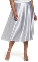 Alex Evenings Plus Size Women's Full Charmeuse Tea-Length Skirt