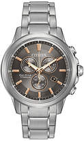 Citizen At2340-56h Chronograph Date Titanium Bracelet Strap Watch, Silver/ash Grey