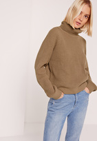 Missguided Brown Turtleneck Cropped Sweater