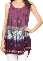 Sakkas 86877 - Cecily Crinkle Floral Batik Tank with Sequins and Embroidery - OS