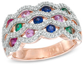 Zales Lab-Created Multi-Gemstone and White Sapphire Ring in Sterling Silver with 14K Rose Gold Plate - Size 7