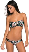 Futurino Women's Camouflage Pattern Bandeau Top Low Rise Bottom Bikini Swimsuit M/US2-4