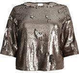 River Island Womens Plus metallic grey sequin grazer top