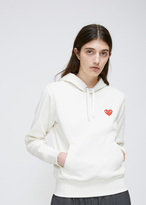Comme des Garcons Ivory Red Heart Hooded Sweatshirt