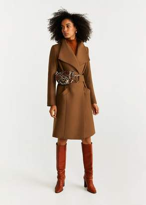 MANGO Belted wool coat ecru - XXS - Women