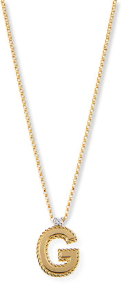 Roberto Coin Princess 18K Yellow Gold Diamond Initial Necklace, G