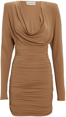 Alexandre Vauthier Draped Jersey Cowl Neck Mini Dress