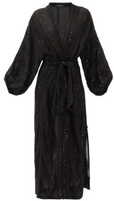Mes Demoiselles Semiramis Sequinned Wrap Dress - Womens - Black