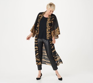 Dennis Basso Mixed Print Georgette Duster Cardigan