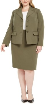 Le Suit Plus Size Four-Button Skirt Suit