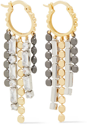 Noir Gold And Silver-tone Crystal Earrings