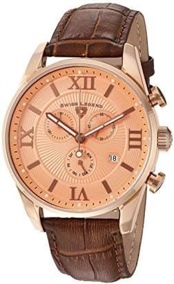 Swiss Legend Men's Analogue Quartz Watch with Leather Strap SL-22011-RG-09-RA-BRN