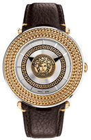 Versace Ion-Plated Goldtone, Stainless Steel and Leather Strap Watch, VQL010015