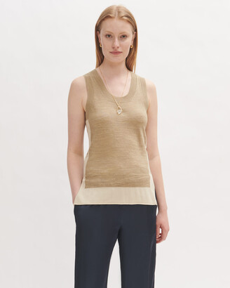 Jigsaw Cotton Linen Side Split Tank