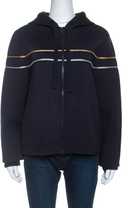 Zadig and Voltaire Navy Blue Jersey Comfy Neo Deluxe Hooded Jacket L