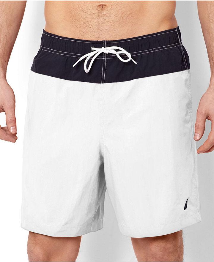 Nautica Swimwear, Horizontal Pieced Print Trunk
