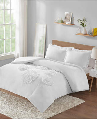 Intelligent Design Ella Twin/Twin Xl Solid Ruffle Floral 2 Piece Comforter Mini Set Bedding
