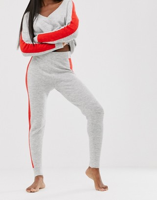 Asos Design DESIGN co-ord knitted jogger with tipping-Grey