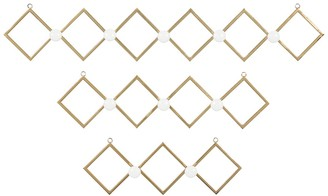 """Willow Row Gold Metal Wall Hooks With Round White Knobs - Set Of 3: 17"""" - 22"""" - 23"""""""