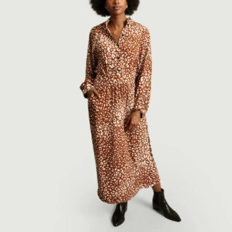 La Petite Francaise Hazelnut Viscose Panther Print Long Shirt Dress - 36 | viscose | HAZELNUT