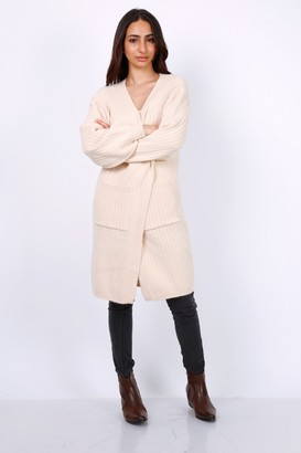 Lilura London Chunky Knit Oversized Cardigan In Beige