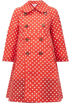 Comme des Garcons Polka-dot Print Mac Coat - Womens - Red White