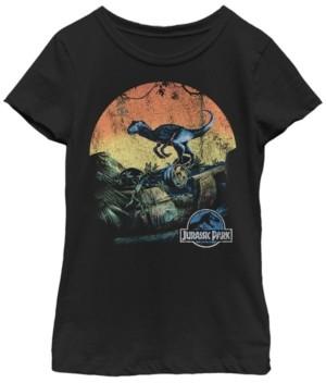 Fifth Sun Jurassic World Big Girl's Retro Raptor Sunset in Jungle Short Sleeve T-Shirt