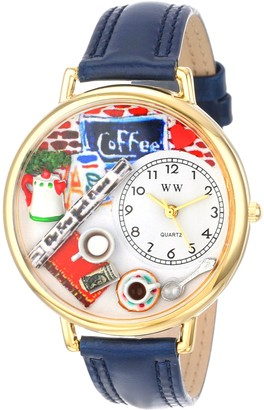 Whimsical Watches Coffee Lover Navy Blue Leather and Goldtone Unisex Quartz Watch with White Dial Analogue Display and Multicolour Leather Strap G-0310006