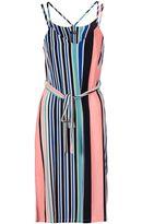 Quiz Multicoloured Crepe Stripe Tie Waist Dress