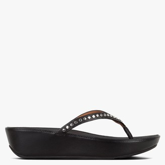 FitFlop Linny Rockstud Black Leather Toe Post Sandals
