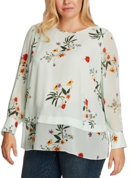 Vince Camuto Plus Size Surreal Garden Chiffon Mixed-Media Blouse