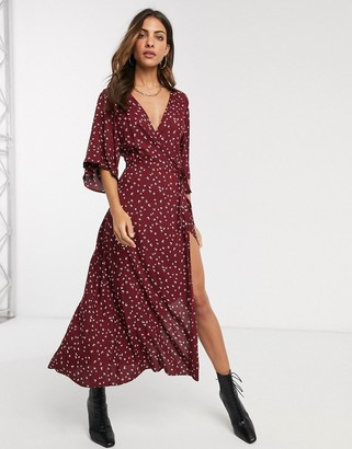 Liquorish wrap front midi dress with flutter sleeves in bird print-Red