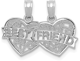 10K White Gold Best Friend Breakable Double Hearts with Banner Charm with 18-inch Cable Rope Chain by Versil