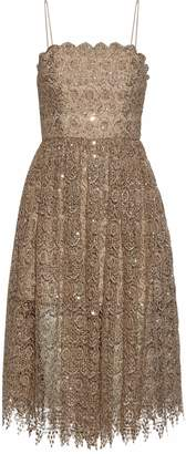 Alice + Olivia Sequined Metallic Macrame Lace Dress