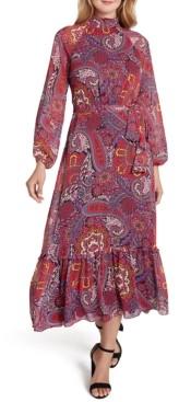 Tahari ASL Paisley-Print Chiffon Midi Dress