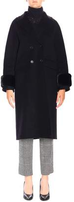Ermanno Scervino Coat Double-breasted Coat With Fur Cuffs