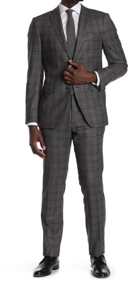 John Varvatos Collection Charcoal Plaid Two Button Notch Lapel Wool Tailored Fit Suit