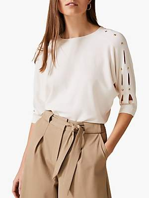 Phase Eight Tatienne Batwing Sleeve Knit, Ivory