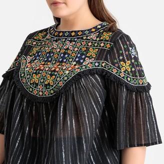 Embroidered Striped Metallic Boho Blouse