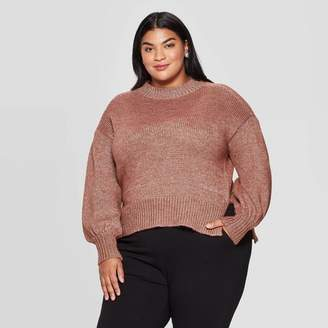 Ava & Viv Women's Plus Size Long Sleeve Crewneck Lurex Pullover Sweater - Ava & VivTM