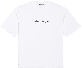 Balenciaga Medium Fit Tee in White & Black | FWRD