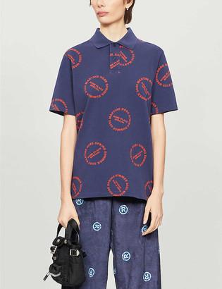 Martine Rose Logo-print cotton-pique polo shirt