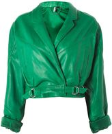 Topshop Cropped Retro Style Leather Biker Jacket
